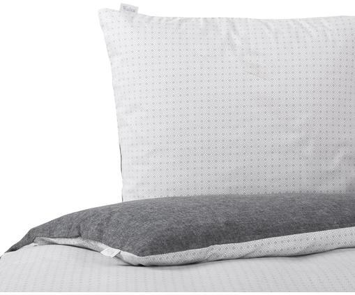 Flanell-Wendebettwäsche Morton, gemustert, Webart: Flanell Flanell ist ein s, Vorderseite: Weiß, Anthrazit<br>Rückseite: Anthrazit, 135 x 200 cm + 1 Kissen 80 x 80 cm