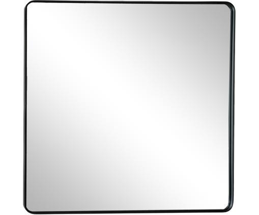 Eckiger Wandspiegel Lianna mit schwarzem Rahmen, Rahmen: Kunststoff, Spiegelfläche: Spiegelglas, Schwarz, 50 x 50 cm