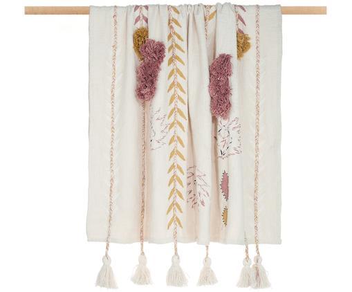 Haftowany pled Arbutus, Bawełna, Żółty, blady różowy, złamana biel, S 125 x D 150 cm