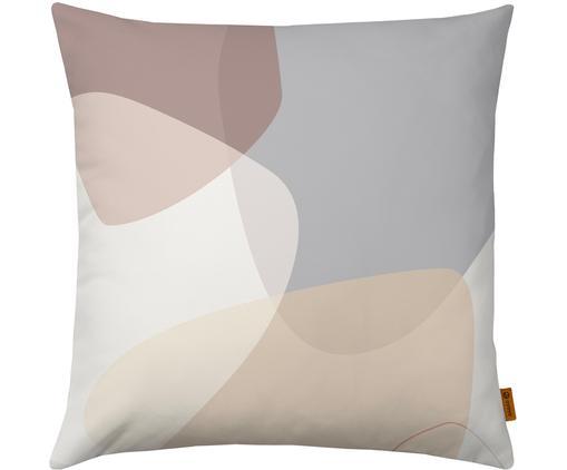 Kissenhülle Graphic mit geometrischem Print, Polyester, Beige, Grau, Creme, Altrosa, 40 x 40 cm