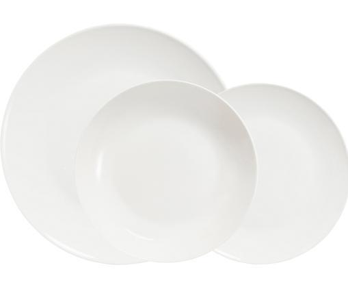 Geschirr-Set Delight Modern, 12-tlg., Das Auge isst mit! Und deshalb besteht das Geschirr-Set aus feinstem New Bone China, das hochwertiger ist als herkömmliches Porzellan, Elfenbeinfarben, Sondergrößen