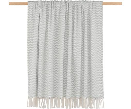 Pled Zigzag, 70% bawełna, 30% poliester Zalecane pranie w pralce do 30 °C, nie suszyć w suszarce bębnowej, Szary z kremowymi frędzlami, D 170 x S 130 cm