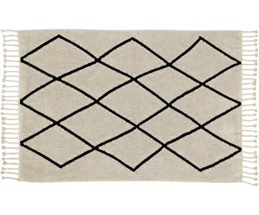 Waschbarer Teppich Bereber, Flor: 97% Baumwolle, 3% recycel, Beige, Schwarz, B 140 x L 200 cm (Größe S)