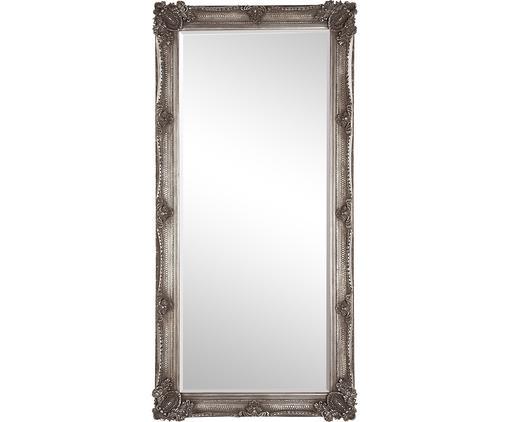 Anlehnspiegel Abbey mit Paulowniaholz-Rahmen, Rahmen: Paulowniaholz, Polyresin,, Spiegelfläche: Spiegelglas, Silberfarben, 80 x 165 cm