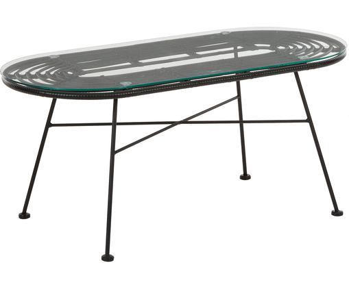 Garten-Couchtisch Costa mit Glasplatte, Tischplatte: Glas, Stärke, Gestell: Metall, pulverbeschichtet, Schwarz, B 100 x T 45 cm