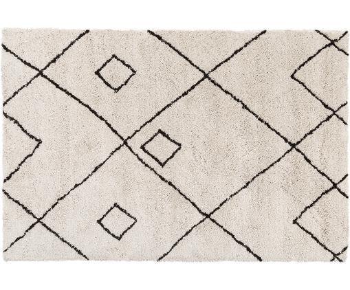 Tappeto taftato a mano Sadia, Vello: 100% poliestere, Retro: 100% cotone, Beige, nero, Larg. 120 x Lung. 180 cm