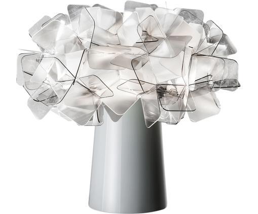 Lampada da tavolo di design Clizia, Paralume: tecnopolimero Lentiflex®,, Base della lampada: acciaio rivestito, Trasparente, grigio chiaro, Ø 27 x Alt. 25 cm