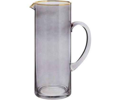 Krug Chloe in Graublau mit Goldrand, Glas, Graublau, 1.6 L