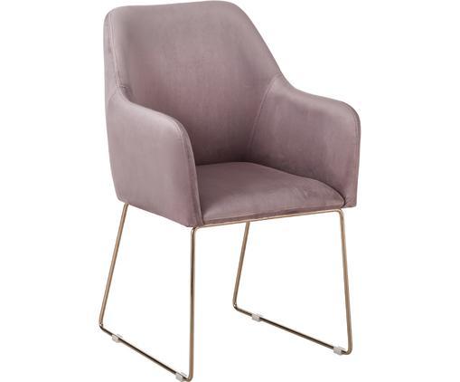 Sedia con braccioli in velluto Isla, Rivestimento: velluto (poliestere) 50.0, Gambe: metallo, rivestito, Velluto malva, gambe rosegold, Larg. 58 x Prof. 62 cm