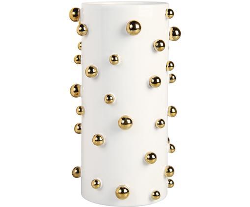 Vaso Orbs, Ceramica, Bianco, dorato, Ø 14 x A 24 cm