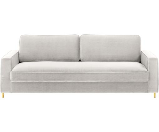 Samt-Sofa Chelsea (3-Sitzer), Bezug: Samt (Hochwertiger Polyes, Gestell: Massives Fichtenholz, Füße: Metall, beschichtet, Samt Hellgrau-Beige, 228 x 75 cm