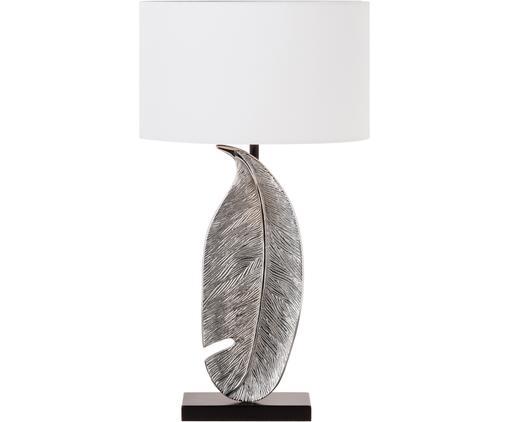 Aluminium-Tischleuchte Feather, Chrom, Silber, Weiß