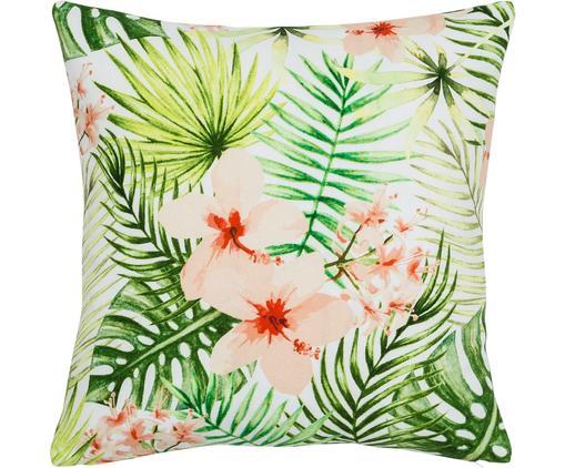 Kissenhülle Jenna mit tropischem Muster in Grün/Rosa, Baumwolle, Mehrfarbig, 40 x 40 cm