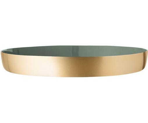 Rundes Deko-Tablett Clara in Gold/Grün, Aluminum, Innen: Grün<br>Außen: Goldfarben, Ø 30 x H 4 cm