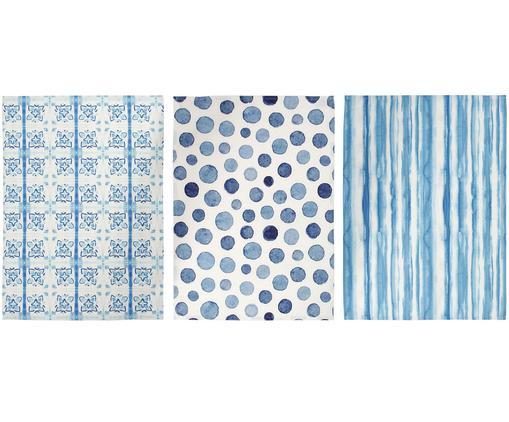 Set strofinacci Cloam, 3 pz., Cotone, Blu, bianco, L 70 x P 50 cm