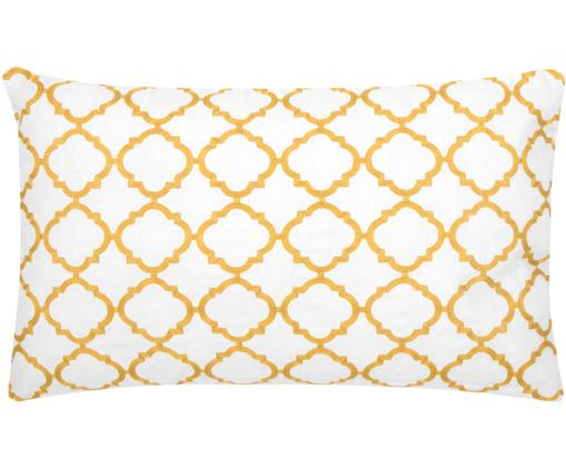 Federa arredo ricamata Lona, Cotone, Bianco, giallo, Larg. 30 x Lung. 50 cm