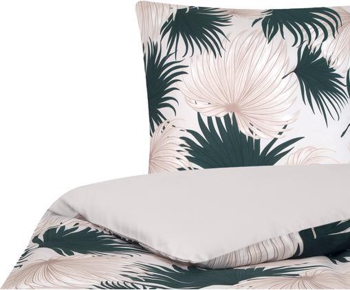 Baumwollsatin-Bettwäsche Aloha, Webart: Satin, Vorderseite: Beige, GrünRückseite: Beige, 135 x 200 cm