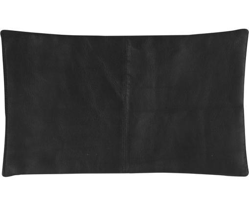 Leder-Kissenhülle Elegance in Schwarz mit Ziernaht, Schwarz, 30 x 50 cm