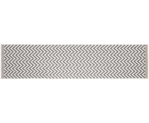 Dubbelzijdige in- & outdoor loper Palma, met zigzag patroon, Grijs, crèmekleurig, 80 x 350 cm
