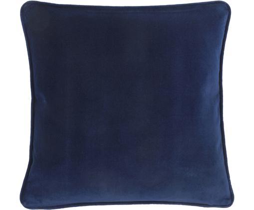 Einfarbige Samt-Kissenhülle Dana in Marineblau, Baumwollsamt, Marineblau, 40 x 40 cm