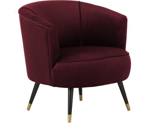 Fotel z aksamitu Ella, Tapicerka: aksamit (poliester) 5000, Nogi: metal lakierowany, Ciemny czerwony, S 74 x G 78 cm