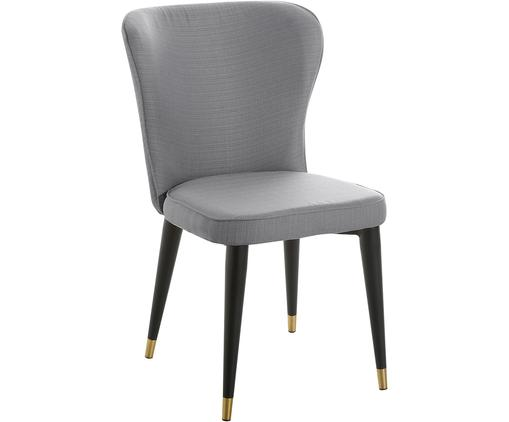 Krzesło tapicerowane Cleo, Tapicerka: poliester Tkanina o odpor, Tapicerka: pianka, Nogi: metal malowany proszkowo, Szary, S 51 x W 85 cm