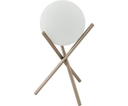 Tischleuchte Castellato aus Opalglas, Lampenfuß: Stahl, lackiert, Lampenschirm: Opalglas, Champagnerfarben, Weiß, Ø 21 x H 33 cm