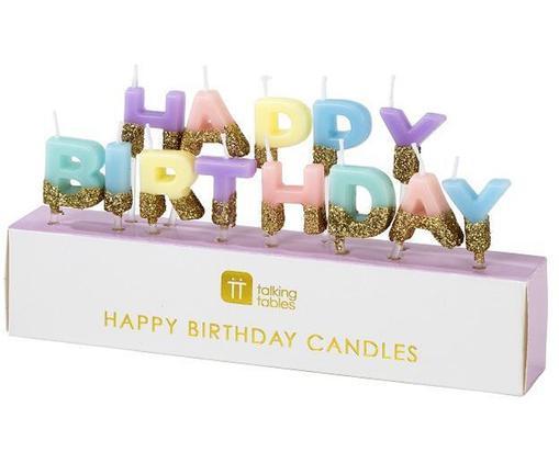 Świeczki tortowe Happy Birthday, Parafina, Wielobarwny z brokatem, S 17 x W 11 cm