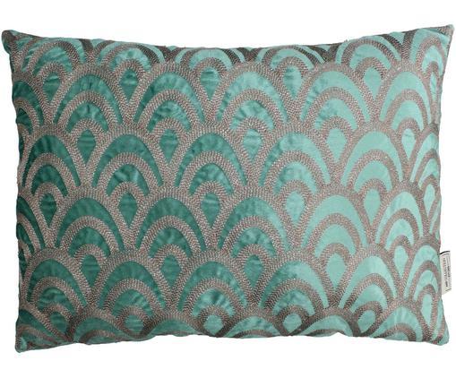 Cojín bordado de terciopelo Trole, con relleno, Terciopelo, Verde, plateado, An 40 x L 60 cm