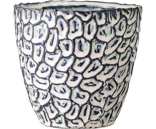 Handgefertigter Übertopf Bonia, Steingut, Weiß, Blau, Ø 14 x H 14 cm