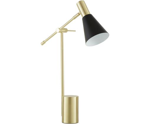 Schreibtischlampe Sia, Lampenschirm: Metall, pulverbeschichtet, Lampenfuß: Metall, vermessingt, Schwarz, Messingfarben, Ø 13 x H 63 cm