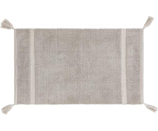 Badvorleger Dust mit Quasten, Baumwolle, Hellgrau, 50 x 85 cm