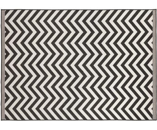 Tappeto reversibile da interno-esterno Palma, Nero, crema, Larg. 120 x Lung. 170 cm (taglia S)