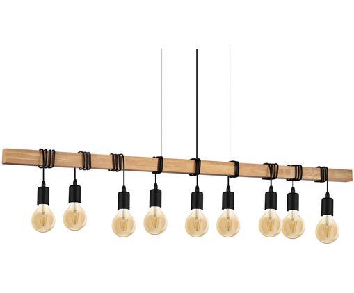 Lampa wisząca Townshend, Stal powlekana, drewno naturalne, Czarny, drewno naturalne, S 150 x W 110 cm