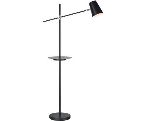 Lampa podłogowa z półką i portem USB Linear, Czarny, S 28 x W 144 cm