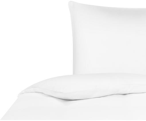Bambus-Bettwäsche Skye in Weiß, 55% Bambus, 45% Baumwolle  Fadendichte 400 TC, Premium Qualität  Bambus ist hypoallergen und antibakteriell. Daher eignet das Material sich hervorragend für empfindliche Haut. Es ist amungsaktiv und absorbiert Feuchtigkeit, um so die Körpertemperatur im Schlaf zu regulieren., Weiß, 135 x 200 cm + 1 Kissen 80 x 80 cm