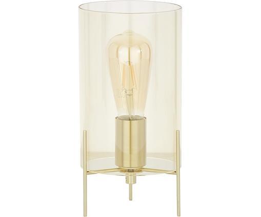Tischleuchte Laurel, Lampenfuß: Metall, gebürstet, Lampenschirm: Glas, Lampenschirm: BernsteinfarbenLampenfuß: MessingfarbenKabel: Transparent, Ø 14 x H 28 cm