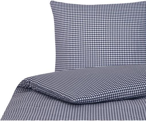 Karierte Baumwoll-Bettwäsche Scotty in Blau/Weiß, 100% Baumwolle  Fadendichte 118 TC, Standard Qualität  Bettwäsche aus Baumwolle fühlt sich auf der Haut angenehm weich an, nimmt Feuchtigkeit gut auf und eignet sich für Allergiker, Blau/Weiß, 135 x 200 cm + 1 Kissen 80 x 80 cm