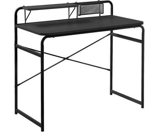 Schreibtisch Foreman aus schwarzem Metall, Tischplatte: Metall, melaminbeschichte, Gestell: Metall, pulverbeschichtet, Schwarz, B 98 x T 46 cm