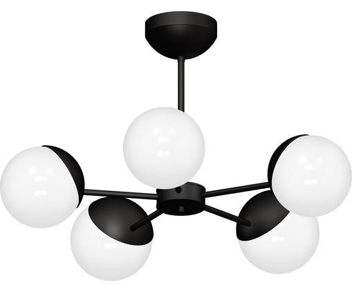 Plafonnier en métal noir Sfera, Blanc, noir