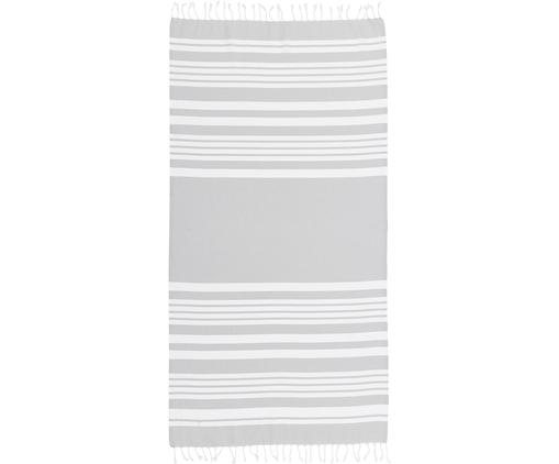 Gestreiftes Hamamtuch Stripy mit Fransenabschluss, Baumwolle Sehr leichte Qualität, 185 g/m², Hellgrau, Weiß, 95 x 175 cm