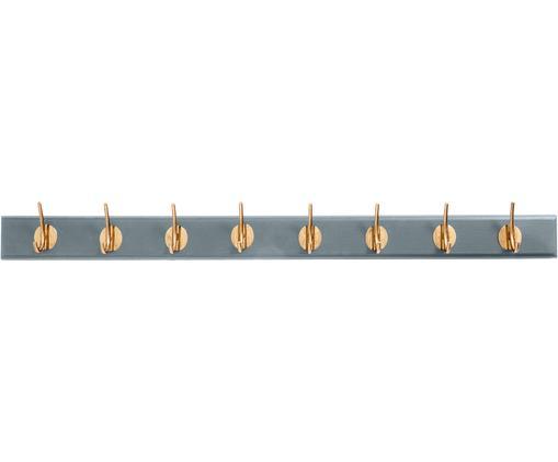 XL Garderobenhaken Aoife mit Metall-Haken, Leiste: Mitteldichte Holzfaserpla, Haken: Messing, Grau, 90 x 7 cm