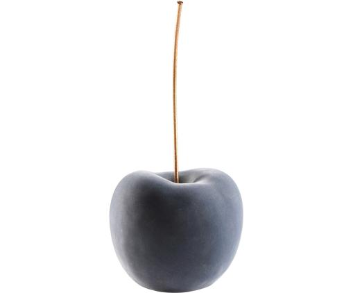 XL-Deko-Objekt Cherry, Bezug: Polyestersamt, Griff: Metall, lackiert, Grau, Messingfarben, 20 x 40 cm
