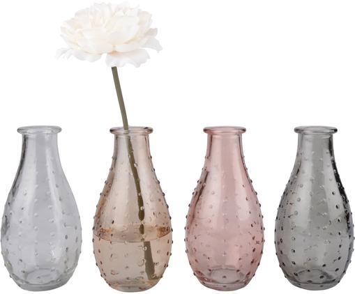 Set 4 vasi in vetro Leona, Vetro, Trasparente, marrone, rosa, grigio, Ø 8 x Alt. 14 cm