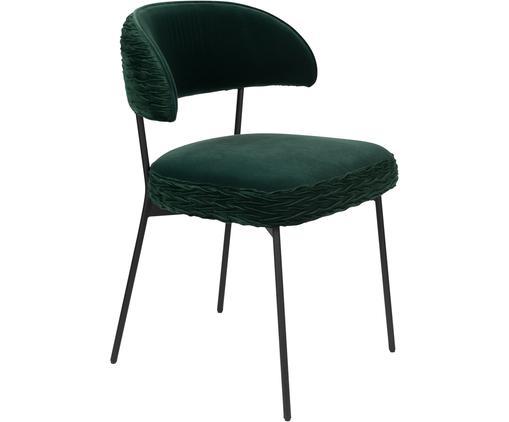 Krzesło tapicerowane z aksamitu The Winner Takes It All, Tapicerka: aksamit poliestrowy 3000, Stelaż: metal malowany proszkowo, Zielony, S 57 x G 56 cm