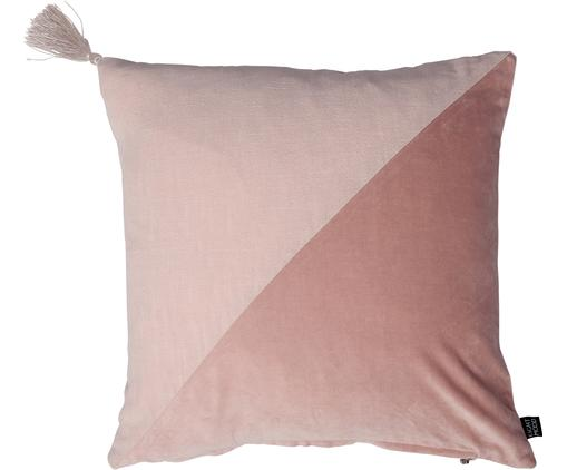 Samt-Kissen Shadow, mit Inlett, Bezug: 48%Rami (Bastfaser), 2%, Pink, Rosa, 45 x 45 cm
