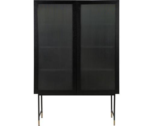 Schwarzes Highboard Pozzini mit Glasfront, Korpus: Mitteldichte Holzfaserpla, Füße: Metall, pulverbeschichtet, Schwarz, Transparent, 120 x 175 cm