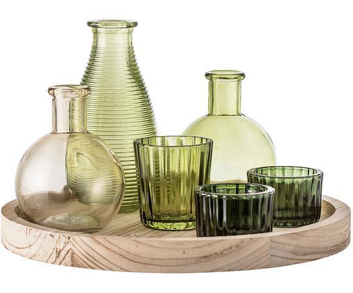 Set vasi e portacandele Wiegand, 7 pz., Verde, marrone chiaro