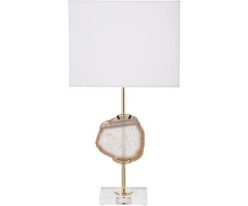 Lampa stołowa z dekoracja z agatu Treasure, Transparentny, odcienie złotego, beżowy agat Klosz: biały, S 33 x W 62 cm