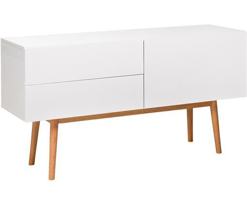 Credenza bianca lucida High on Wood, Piedini: legno di quercia massicci, Bianco, legno naturale, Larg. 120 x Alt. 72 cm